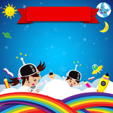 Cute children on space place 003 Royalty Free Stock Photography