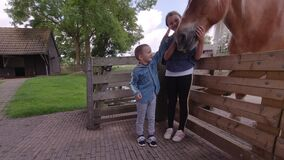 Cute children stroking a  horse head. Tenderness and caring for animals concept