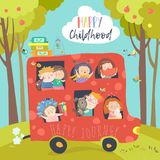 Cute children traveling by bus. Vector illustration Stock Photography
