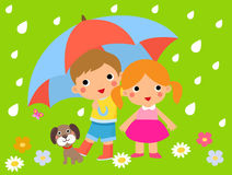 Cute children and umbrella Royalty Free Stock Image