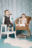 Cute children vintage style Royalty Free Stock Photos