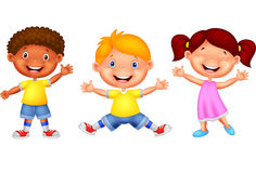 Cute children waving hand Stock Images