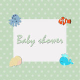 Cute childrens square frame in a marine style with sea animals. Royalty Free Stock Photo
