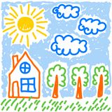 Cute childs drawing stylization house trees sun and clouds  vector. Cute childs drawing stylization house trees sun and clouds colorful cute vector Royalty Free Stock Photos