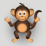 Cute chimpanzee little monkey cartoon character Royalty Free Stock Images