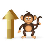 Cute chimpanzee little monkey and top up mark eps10 Stock Images