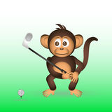 Cute chimpanzee playing golf sport little monkey Royalty Free Stock Photography