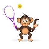 Cute chimpanzee playing tennis sport little monkey Royalty Free Stock Image