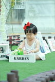 Cute Chinese baby girl play flowers in a garden Royalty Free Stock Photos
