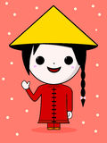Cute chinese girl illustration Stock Photos