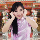 Cute chinese girl in the temple Stock Photo