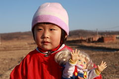 Cute Chinese girl in winter. Time portrait Stock Photos