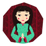 Cute chinese young woman (girl) in cartoon style with long hear on red bamboo background in vector Stock Photo