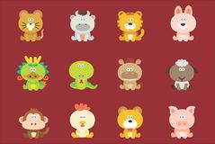 Cute Chinese Zodiac. A bunch of illustration of chinesse zodiac stock illustration