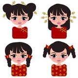 Cute chinesse girl cartoon. Happy face chinesse girl in fashionable style  set isolated stock illustration