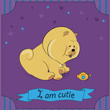 Cute Chow with teapot. Cute Dog Chow with teapot. Vector Illustration Stock Image