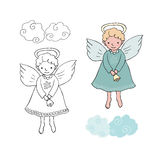 Cute Christmas angel with bell in cartoon style. Black and white and colorful for coloring book.  vector illustration on white background Stock Photos