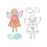 Cute Christmas angel with bell in cartoon style. Black and white and colorful for coloring book.  vector illustration on white background Stock Photography