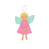 Cute Christmas angel with bell in cartoon style. Hand drawn cute Christmas angel with bell in cartoon style. Isolated vector illustration on white background Royalty Free Stock Photos