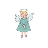 Cute Christmas angel with bell in cartoon style. Hand drawn cute Christmas angel with bell in cartoon style.  vector illustration on white background Royalty Free Stock Photos