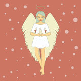 Cute Christmas Angel with Candle. Stock Photography