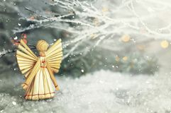 Christmas angel. Christmas straw ornament. Cute Christmas angel. Christmas straw ornament stock images