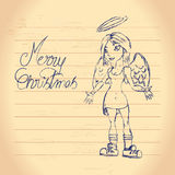 Cute christmas angel drawing Royalty Free Stock Image
