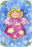 Cute Christmas Angel watercolor Stock Image