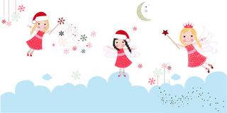 Cute christmas angels. Merry christmas greeting card Stock Image