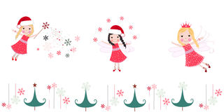 Cute christmas angels. Merry christmas greeting card Royalty Free Stock Photos