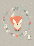 Cute Christmas baby fox with floral decoration Stock Image