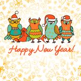 Cute christmas background with funny owls Stock Images