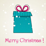 Cute Christmas background with gift box Stock Photos