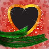 Cute Christmas background with heart shaped blank photo frame Royalty Free Stock Photos