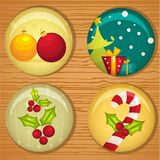 Cute Christmas badges Stock Photos