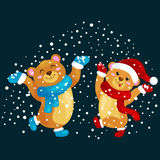 Cute Christmas bears during the winter holidays and the New Year's Eve jump under snowfall rejoice gifts. Teddy in Stock Photography