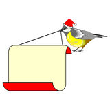 A cute Christmas bird (titmouse) with a big blank paper in its b Royalty Free Stock Photo