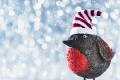 Cute Christmas Bird in Winter Wonderland. Christmas background. Cute Christmas Bird in Winter Wonderland. Christmas background with copy space stock image