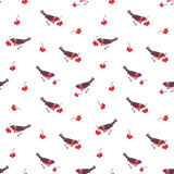 Cute Christmas bullfinches and ashberry seamless vector pattern Royalty Free Stock Photography