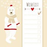 Cute christmas card, baby shower wish list with polar bear vector illustration