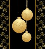 Cute Christmas card with gold balls Royalty Free Stock Image