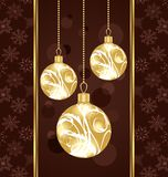 Cute Christmas card with gold balls Royalty Free Stock Photo