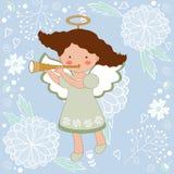 Cute Christmas card with happy angel Stock Photos