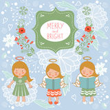 Cute Christmas card with happy angels and Royalty Free Stock Photography