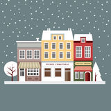 Cute christmas card with houses, winter snowy scene, flat design,. Illustration background Stock Photos