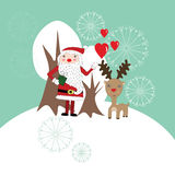 Cute Christmas card with Santa Claus and reindeer royalty free illustration