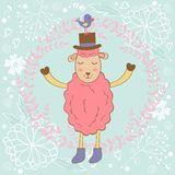 Cute Christmas card with sheep and bird. Vector illustration Royalty Free Stock Photo