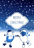 Cute Christmas card with sheep Stock Photo