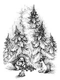 Cute Christmas card sketch. Forest animals near fire camp Stock Image