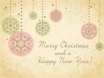 Cute Christmas card with snowflakes royalty free illustration